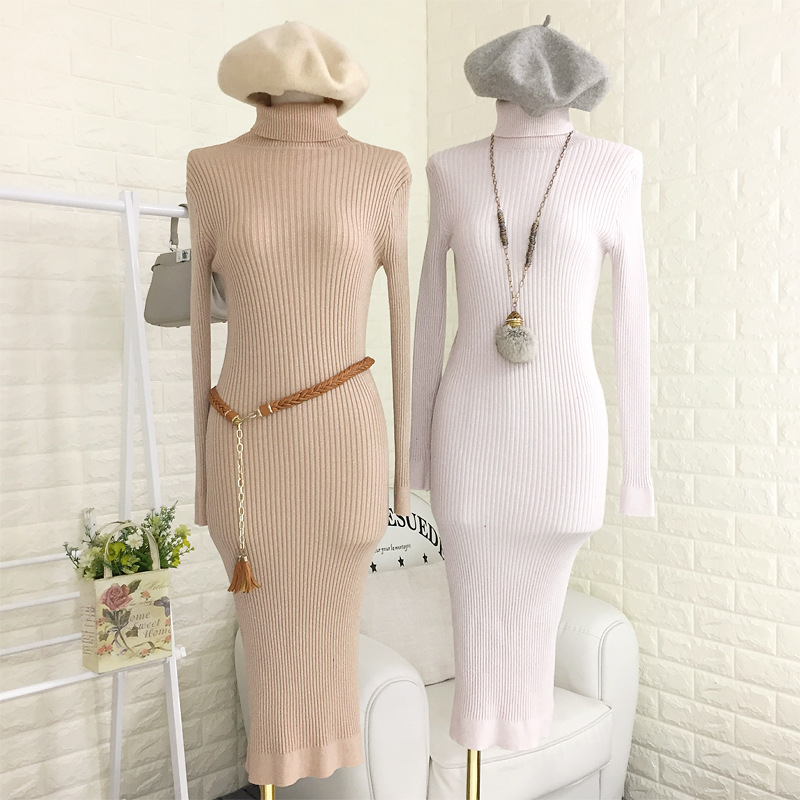 Almoda Winter Warm Knitted Dress Turtle Neck Long sleeved Slim Glittering Trendy Bodycon Dress Women Fashion