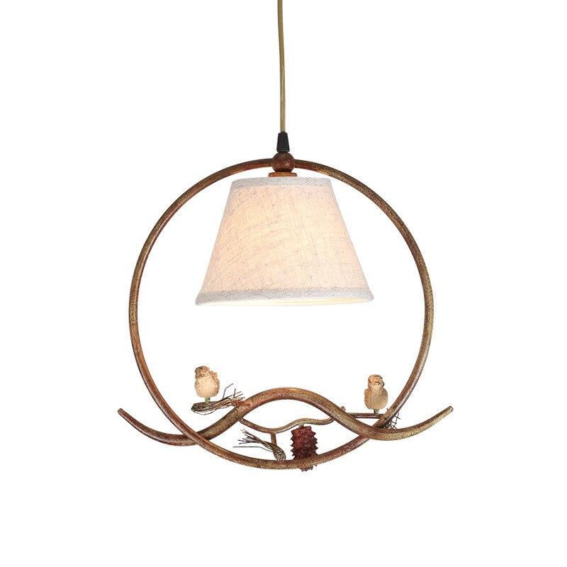 2017 NEW Birds pendant lights vintage lamp resin bird fabric lampshade for kitchen lighting dining room retro loft pendant lamp