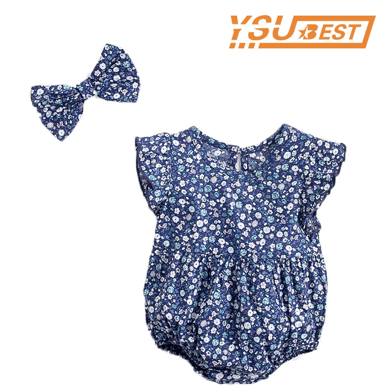 New 2019 Baby Girls Broken Flowers Rompers + Hair Band Baby Girl Clothes Baby Cotton Rompers Vintage Style Newborn Girls Clothes