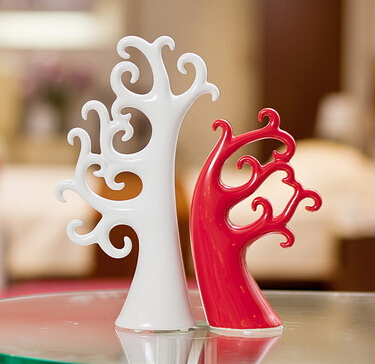 2015 Fashion Modern coral tree minimalist ceramic crafts home furnishings Decoration red and white coral tree love tree ornament
