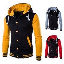 Jacket men's fashion hooded baseball coat cotton cardigan Slim brushed sweatshirt stitching contrast color large size 5XL jacket contrast taped side hooded sweatshirt