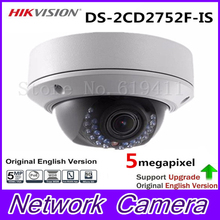 Free DHL Hikvision Original English Version DS-2CD2752F-IS Audio POE 5MP WDR Vari-focal Lens Dome Network IP Camera CCTV Camera