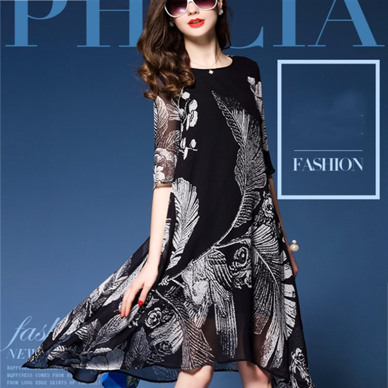 Spring Summer Female Print Imitated Silk Half Sleeve One-piece Dress Women's Fashion Loose Expansion Medium-long Dress M-3XL