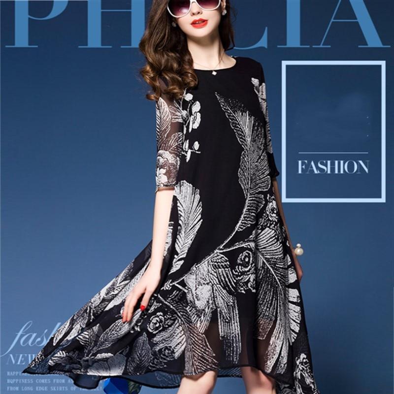 Printemps été femme imprimé imitation soie demi manches une pièce robe femmes mode lâche Expansion moyenne-longue robe M-3XL