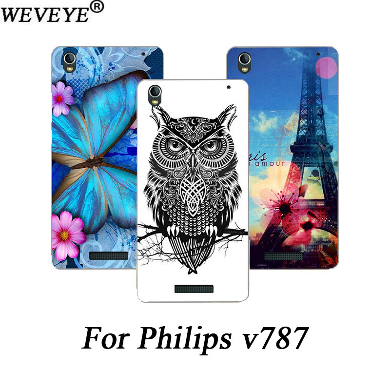 Fashion Painted Cover <font><b>Case</b></font> <font><b>For</b></font> <font><b>Philips</b></font> <font><b>v787</b></font> V 787 colorful patterns Flowers animal and Eiffel Towers SOFT TPU <font><b>Case</b></font> Cover image