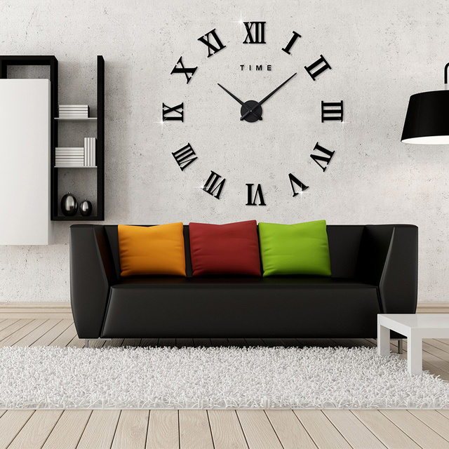 2017 New Home Decoration Wall Clock Big Mirror Wall Clock Modern Design  Large Size Wall Clocks