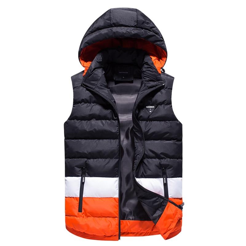 MADHERO Hat Detachable Vest Men's Slim Striped Waistcoat Men Top Quality Outerwear Keep Warm Sleeveless Jacket Men Autumn Winter