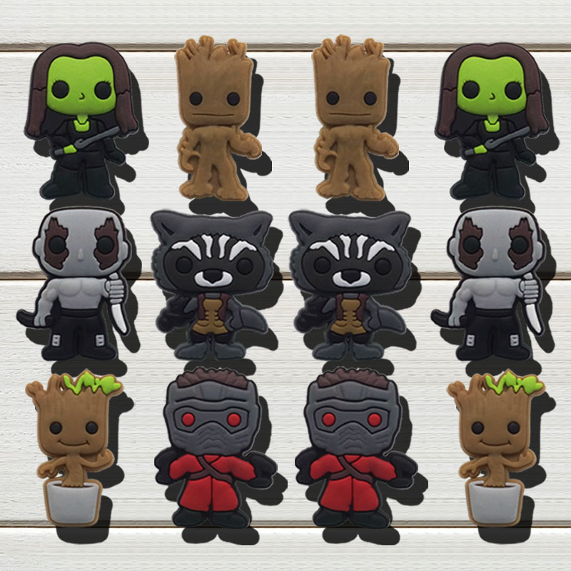 1pc Star-Lord Groot Rocket Rac PVC Shoe Charms Shoe Accessories Shoe Decoration Shoe Buckles Accessories Fit Wristband Croc JIBZ