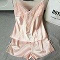 Verão das Mulheres Novas de Cetim V Profundo Tiras Camisola Lingerie de Renda Pijama fêmea Sexy Conjunto Roupa de Dormir Pijamas Set M L XL XXL M033