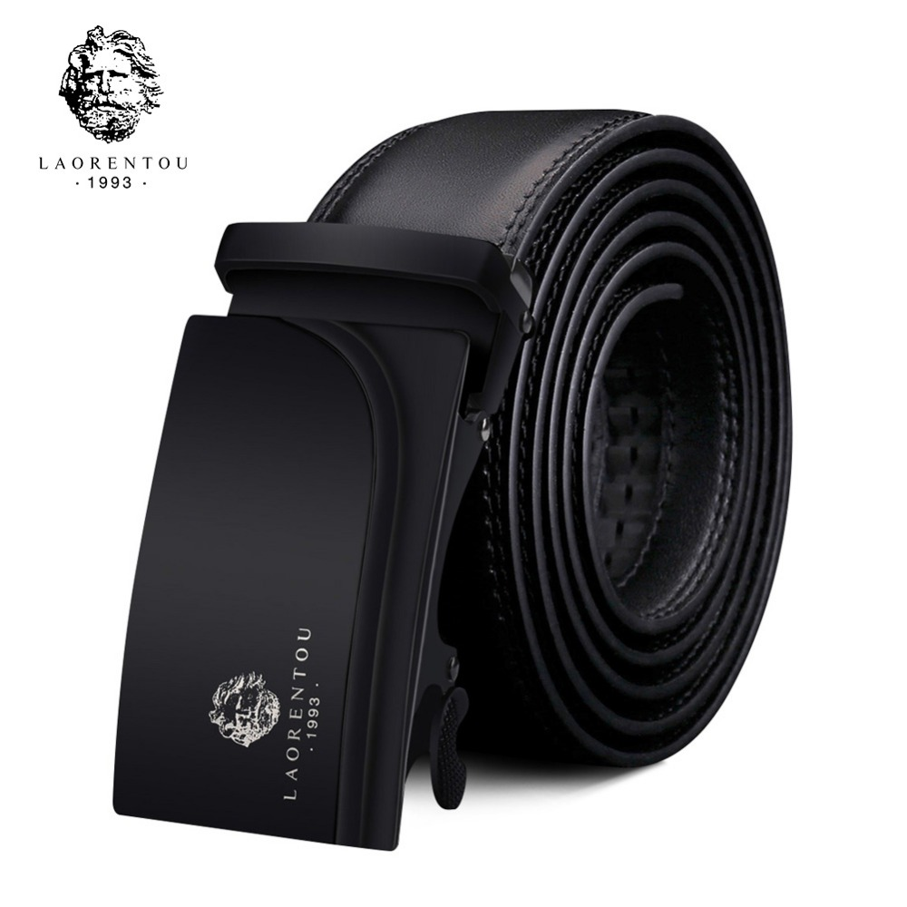 LAORENTOU Brand Man Split Leather Replacement Belt Male Cutable Belt Man's Belts without Buckle Gentleman High Quality Belt