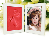 Red Wooden Baby Hand And Foot Prints Clay Photo Frames For Picture Infant Baby Inkpad Hand