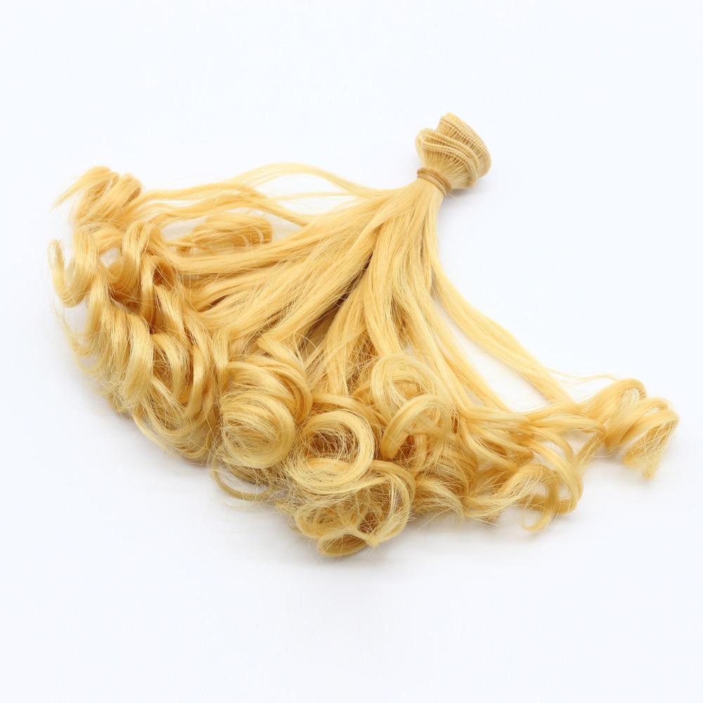 Baru 15 cm helf-curly doll wig brown khaki hitam suhu tinggi tahan - Anak patung dan aksesori - Foto 2