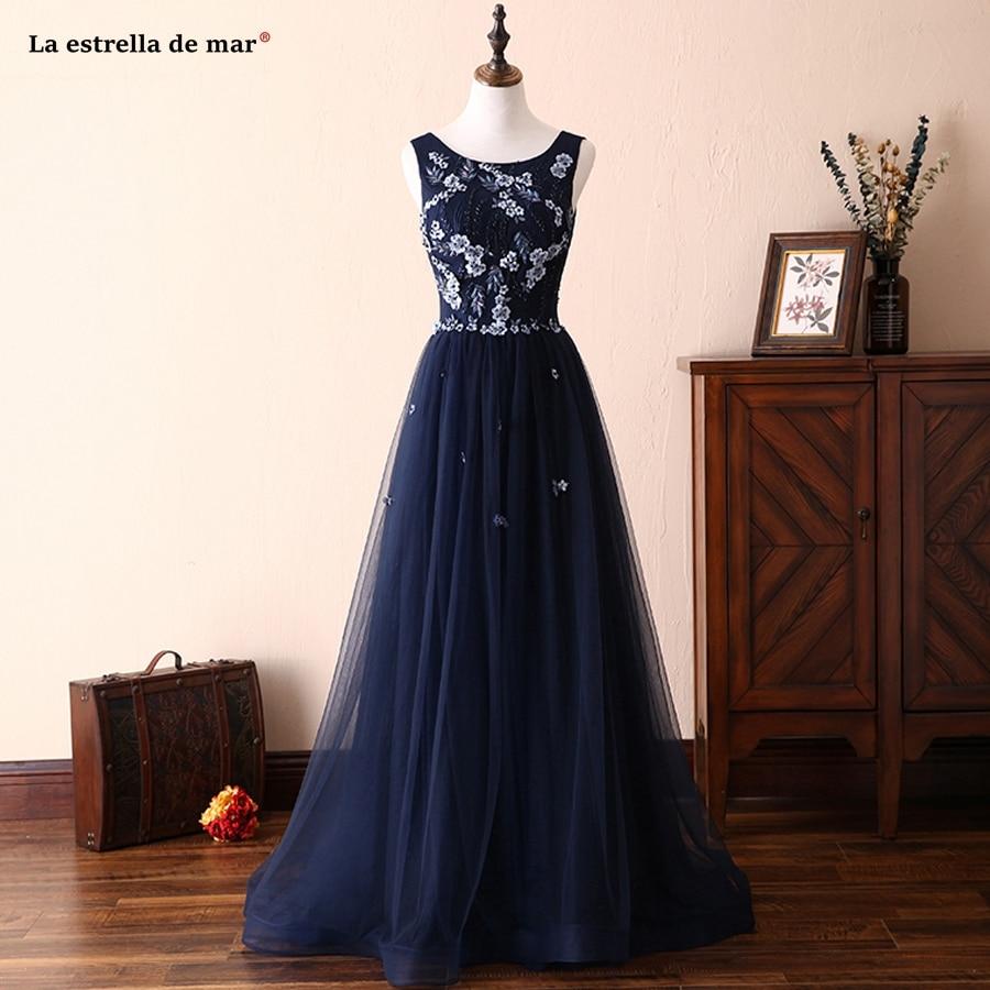 La estrella de mar vestidos boda invitada mujer new Scoop tulle crystal A Line navy blue   bridesmaid     dresses   long high quality