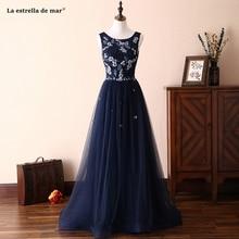 Navy blue vestido madrinha new tulle crystal A Line vestidos longos para festa de casamento vestidos de festa luxury gaun pesta