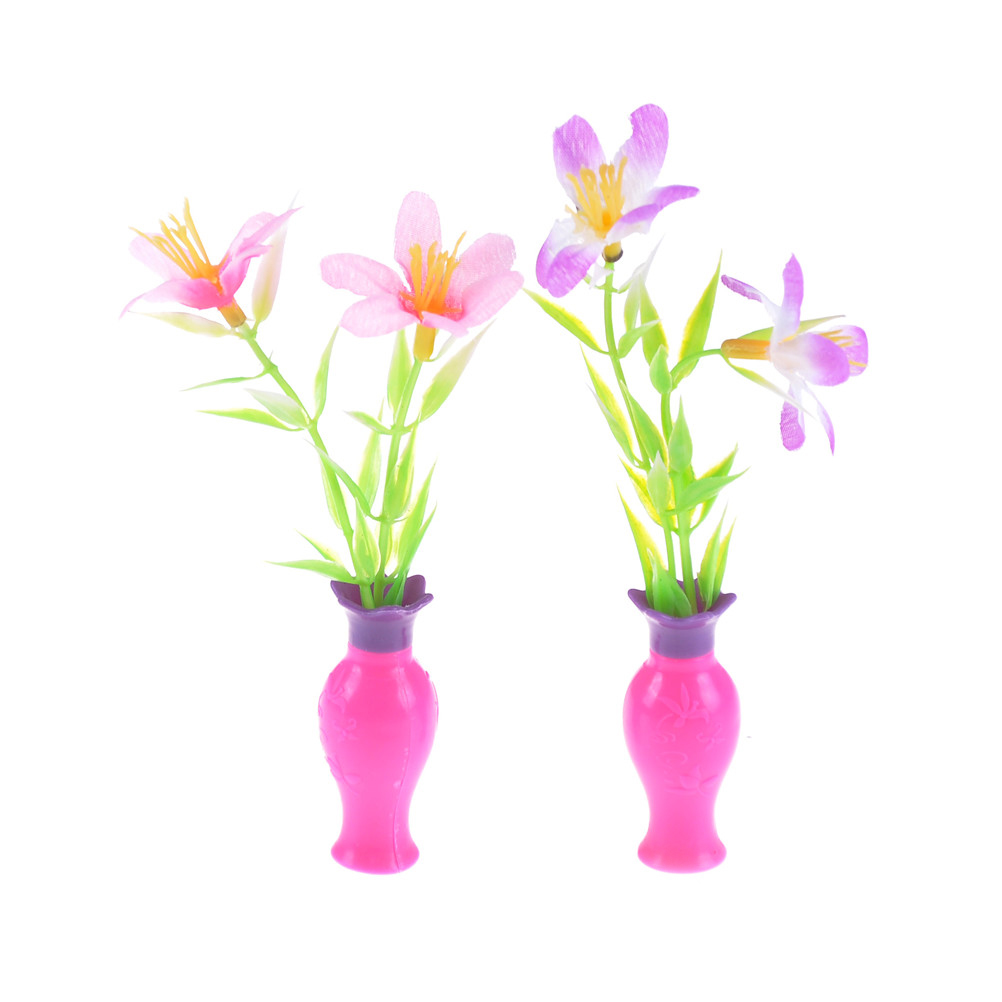 New Cute Diy Dollhouse Flower With Vase Pink Plastic Flower Vase