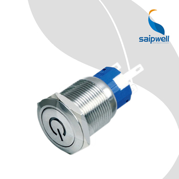 19mm Resetable Type Flat  Head  Mini  Push Button Switch /  Metal-Enclosed  Switchgear with LED Power Symble(SP19-C5)