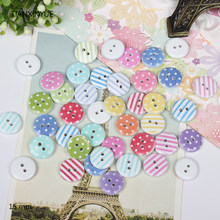 12 style mix , 100 pcs Striped button, Print 2 Holes Wooden Buttons 15mm Sewing Scrapbooking Crafts,Clothing accessories(China)