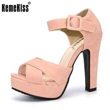 KemeKiss Peep Toe Ankle Strap Starke Absatz Sandalen Plattform Damen Schuhe Frauen Kleid Schuhe Sandale Mujer größe 32-43 PA00665