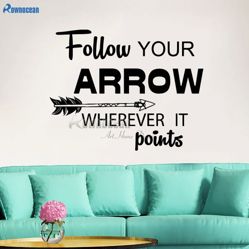 Arrow Feather Wall Decals Arrow Quote Vinyl Stickers Bedroom Home Decoration Removable Diy Wallpaper Art Wall Sticker Text W711 Wall Sticker Text Stickers Textfeather Wall Decal Aliexpress