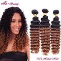 Atacado Malásia virgem cabelo kinky curly cabelo encaracolado ombre T1B/30 ombre hair extensions ombre cabelo humano onda profunda tecer