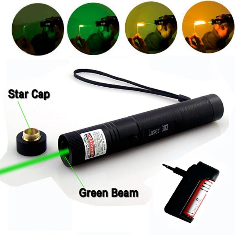 Зелена лазерна гледка CNC лазери Указател Мощно устройство 10000m Регулируем фокус лазер с Star Cap + зарядно + 18650 батерия