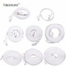 VBESTLIFE RJ45 CAT6 Ethernet Network Flat LAN Cable UTP Patch Router Cables 1000M White 0.5m, 1m, 2m, 3m, 5m, 8m, 10m, 15m Cable