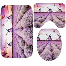Butterfly Lavender Soft Toilet Cover Seat Lid Pad Bathroom Closestool Protector Mat Accessories Set