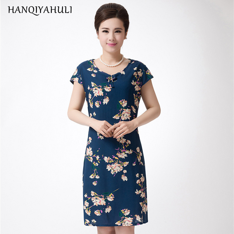 XL-5XL Vestidos 2016 Summer Style Plus Size Women Dress Vintage Printed Brand Flower Print Dress Long Casual Beach Dress