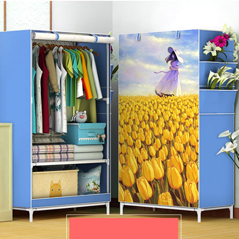 Simple student wardrobe single dormitory reinforcement steel frame cloth wardrobe assembly cloth wardrobe simple fashion moistureproof sealing thick oxford fabric cloth wardrobe rustproof steel pipe closet 133d