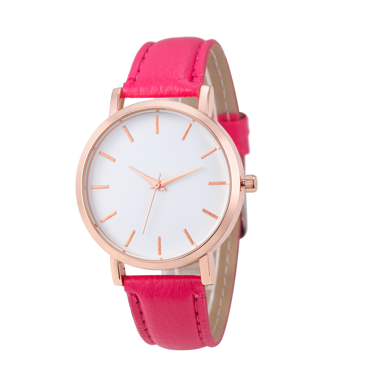 Fashion Lady Watch with Fuchsia Leather Strap