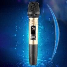 Uhf Беспроводная микрофонная система ручной светодиодный микрофон Uhf динамик с портативным usb-приемником для Ktv Dj речевой усилитель Recordi