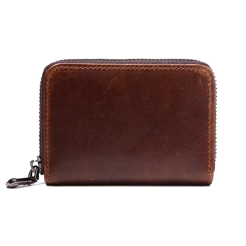Genuine Leather Cowhide Small Mini Coin Purse Multi Pockets Zipper Bank Credit Card Holder Wallet Organizer LS0197 etya bank credit card holder card cover