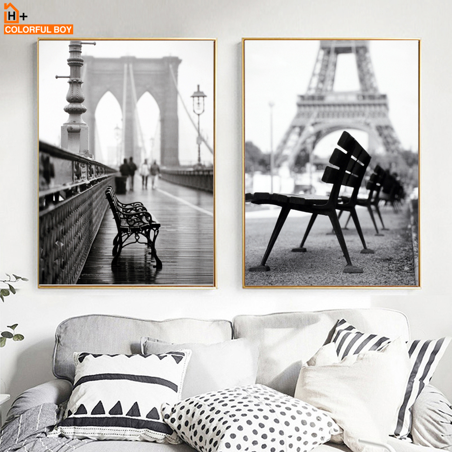 COLORFULBOY Paris Paisaje Foto Lienzo Pintura Wall Art Print Negro Blanco Nordic Poster Wall Pictures For Living Room Decor