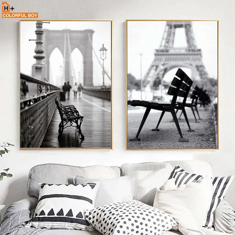 COLORFULBOY पेरिस लैंडस्केप फोटो कैनवस पेंटिंग वॉल आर्ट प्रिंट ब्लैक व्हाइट नॉर्डिक पोस्टर वॉल पिक्चर्स फॉर लिविंग रूम डेकोर