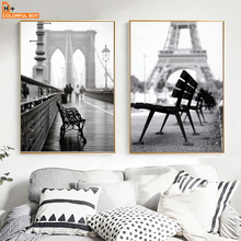 COLORFULBOY Nordic Paris Street Landscape Canvas Painting Nostalgic Wall Art Print Poster Pictures For Living Room Decor