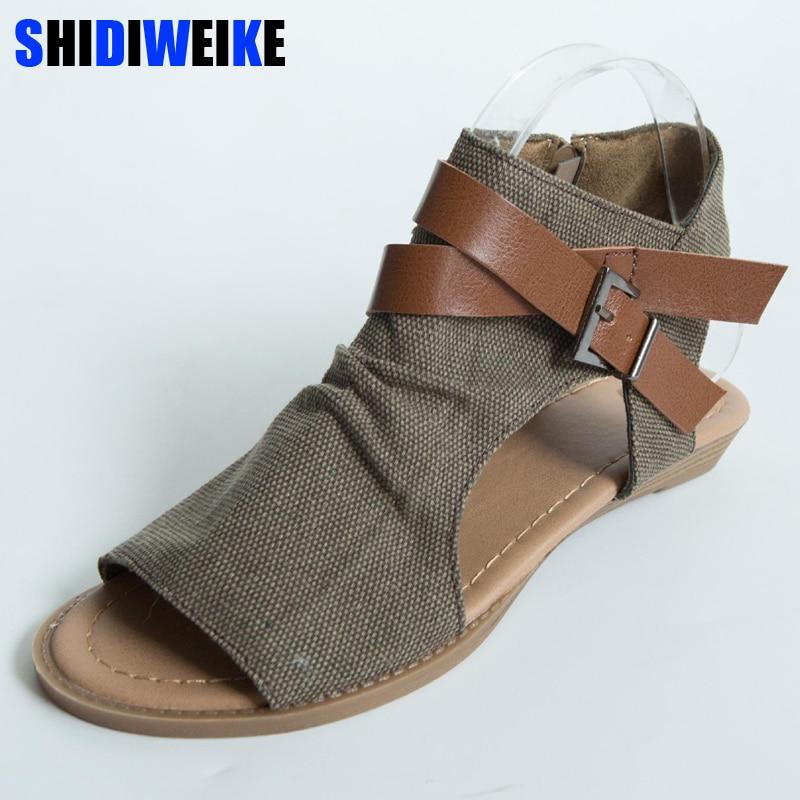 SHIDIWEIKE 2019 Womens Summer Sandals Canvas Peep Toe ...