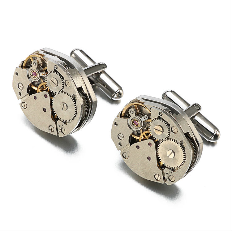 Jin&Ju Jewelry Hot Sale Watch Movement Cufflinks Of Immovable Steampunk Gear Watch Mechanism Cuff Links For Mens Gemelos