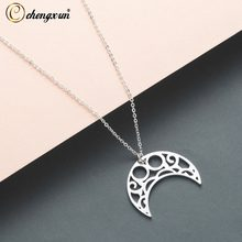CHENGXUN Simple Hollow Moon Pendants for Women Girls Stainless Steel Metal Female Jewelry Necklace Best Gift(China)