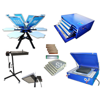 Free shipping 6 Color 6 station Screen Printing Machine Kit Flash Dryer LED UV exposure Screen Drying Cabinet
