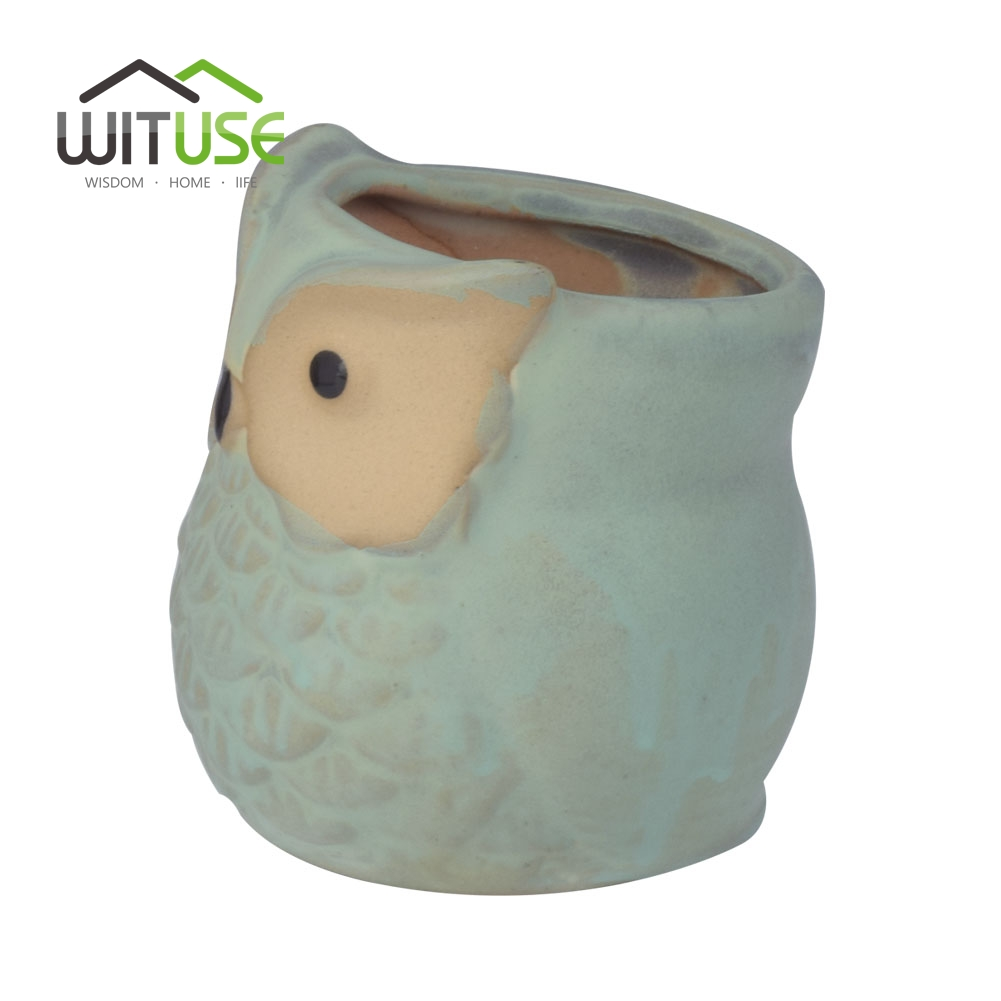 Image 4 - WITUSE Owl flower pot ceramic glazed plants pots decorative Cartoon clay garden pot for balconies small indoor flowers-in Flower Pots & Planters from Home & Garden