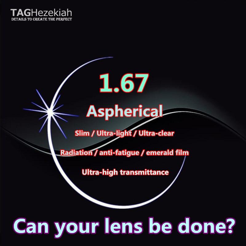 High end 1 67 aspheric prescription eyewear myopia computer reading glasses anti fatigue radiation optical lenses