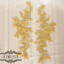 10Pcs New Arrival Fabric in Pair Lace Trim Dress DIY Lace Accessories Delicate Gold Ivory White Wedding DIY Accessories AIWUJIA white delicate lace mini slip dress