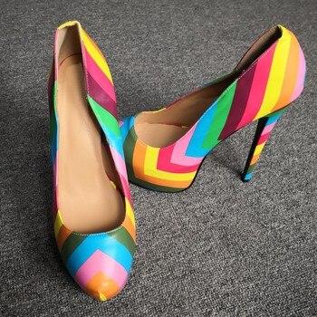 Olomm NEW Fashion Women Platform Pumps Sexy Stiletto High Heels Pumps Round Toe Multi Color Party Shoes Women Plus US Size 5-15