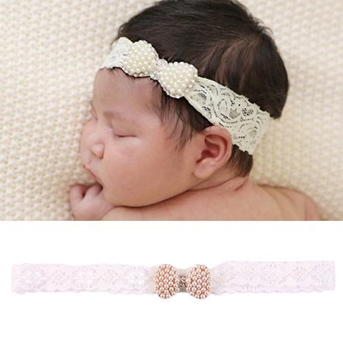Hot Baby Girl Princess Lace Bowknot Faux Pearls Headband Baptism Hairband Headdress