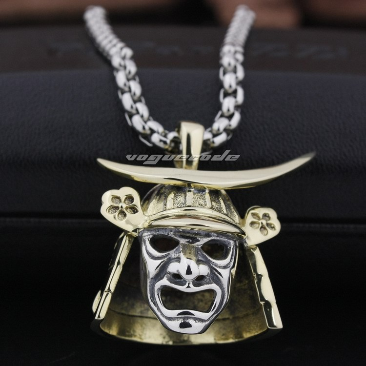 Brass japanese samurai armor 925 sterling silver face mark mens brass japanese samurai armor 925 sterling silver face mark mens pendant 8q024necklace 24inch in pendants from jewelry accessories on aliexpress mozeypictures Images