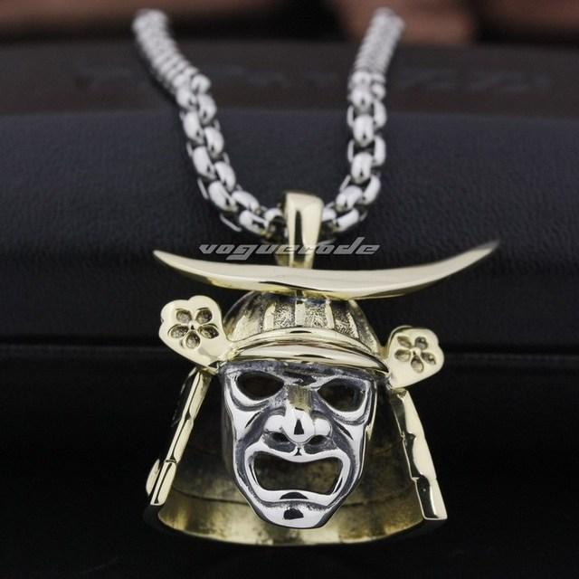 Brass japanese samurai armor 925 sterling silver face mark mens brass japanese samurai armor 925 sterling silver face mark mens pendant 8q024necklace 24inch aloadofball Image collections