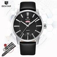 손목 시계 남성 benyar 쿼츠 시계 남성 브랜드 럭셔리 비즈니스 캘린더 군사 가죽 남성 시계 2019 relogio masculino