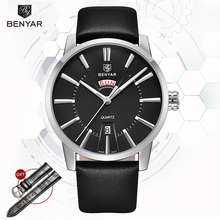 лучшая цена Wristwatch Mens  BENYAR Quartz Watches Mens Top Brand Luxury Business Calendar Military Leather Men Watch 2019 Relogio Masculino