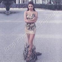 Sexy Lange Abendkleid 2016 Sheer Scoop Saudi-arabien Schwarz Stickerei Meerjungfrau Stil Champagne Arabisch Frauen Formale Abendkleider
