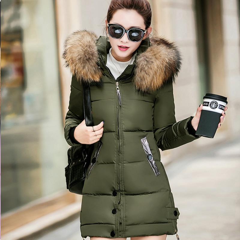 CHANGYUGE Large Fur Collar WomenS Down Coat 2017 Winter Jacket Women Hooded Long Down Jacket For Women Winter Coat Female Parka